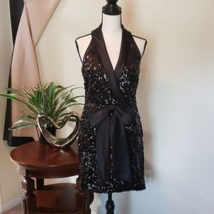 Laundry by Shelli Segal black sequin bow dress